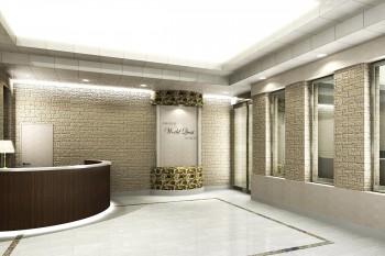 ビジネスホテルのレセプション内観パース