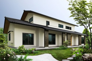 日本庭園の戸建パース