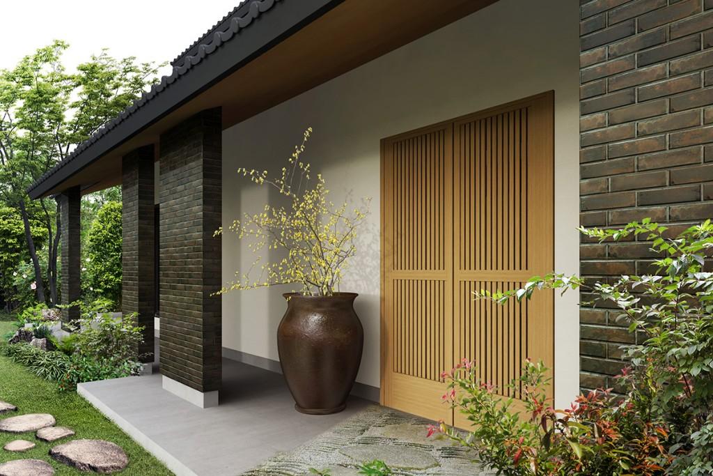 和風住宅玄関パース