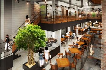 カフェテリア店舗パース