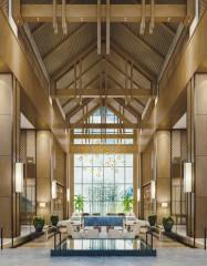 高級ホテルのラウンジ内観パース