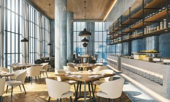 高層階にあるレストランバー内観パース
