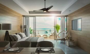 海辺の住宅内観CGパース